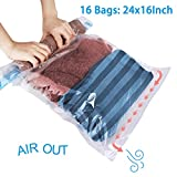 BYSURE 16 Pack Travel Space Saver - Roll Up Storage Bags - Compression Bags for Clothes - No Vacuum or Pump Needed