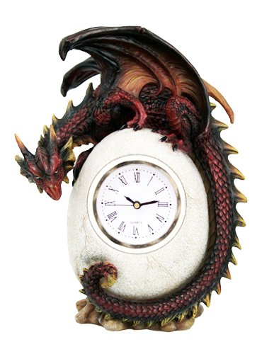 Red Dragon On Egg Clock Collectible Figurine