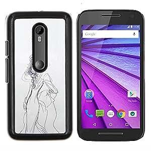 """Be-Star Único Patrón Plástico Duro Fundas Cover Cubre Hard Case Cover Para Motorola Moto G (3rd gen) / G3 ( Boceto del vestido de la mujer Dibujo Lápiz Moda"""" )"""