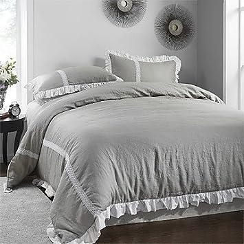 Lange Dream 3 Teilig Grau Silbern Spitze Rüschen Bettbezug Aus