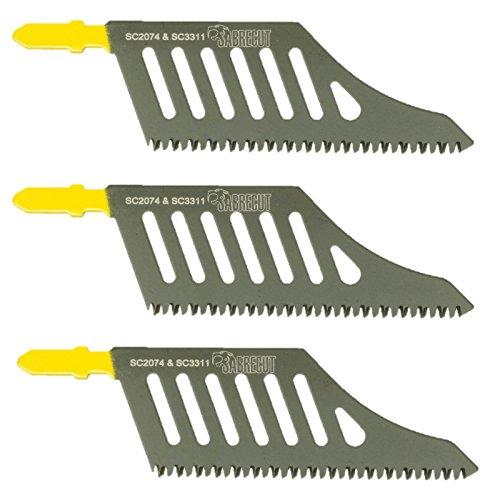 3 x SabreCut JSSC2074_3 T Shank HCS Wood Flush Cutting DT2074 Jigsaw Blades For Dewalt, Bosch and many others