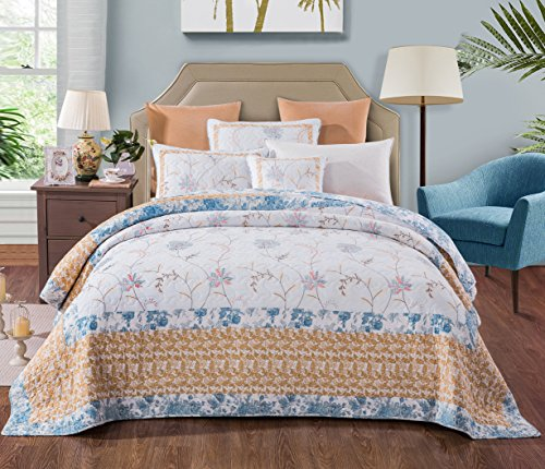 Tache 2 Piece Cotton Floral Patchwork Winter Frost Blue Yellow White Bedspread Coverlet Quilt Set, Twin by Tache Home Fashion