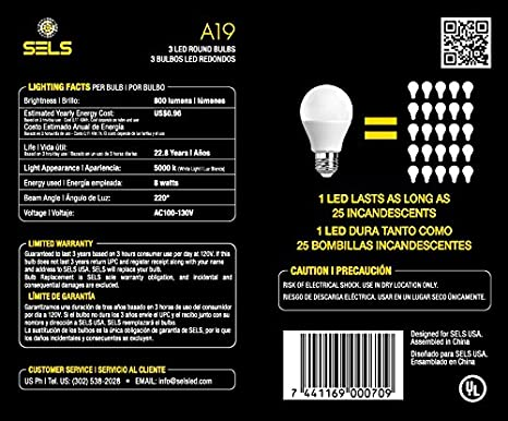 SELS LED A19 60-Watt Equivalent LED Light Bulb, E26 Standard Base, Daylight (6 Pack)  - - Amazon.com