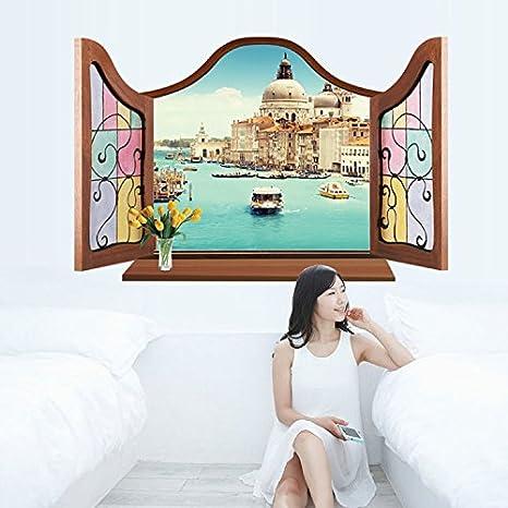 Soggiorno TV Sfondo Adesivi da parete 3d della finestra Panorama ...