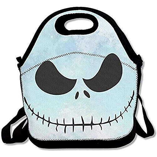 Flyss Before Christmas Jack Skull Skellington Lunch Tote Insulated Reusable Picnic Lunch Bags Boxes Men Women Kids Toddler Nurses Travel Bag