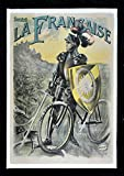 SOCIETE LA FRANCAISE * BICYCLE BIKE DIAMANT TIRE KNIGHT FRENCH POSTER ca. 1900