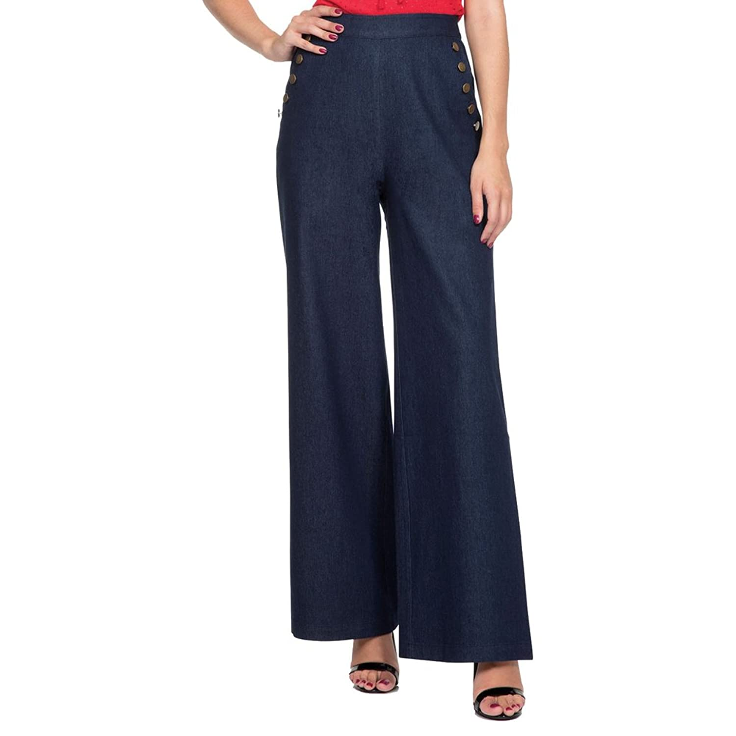 1940s Style Pants & Overalls- Wide Leg, High Waist Womens Voodoo Vixen SAMANTHA Nautical Denim Trousers Blue $52.99 AT vintagedancer.com