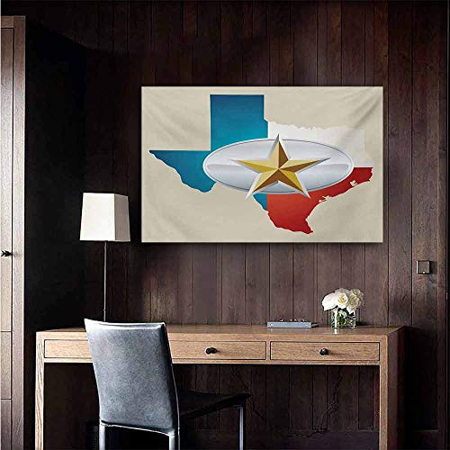 duommhome Texas Star Modern Frameless Painting Cowboy Belt Buckle Star Design with Texas Map Southwestern Parts of America Bedroom Bedside Painting 35