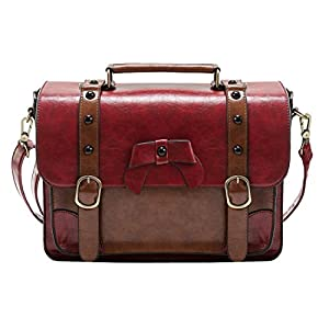 ECOSUSI Vintage Crossbody Messenger Bag Satchel Purse Handbag Briefcase for Women & Girl, Red