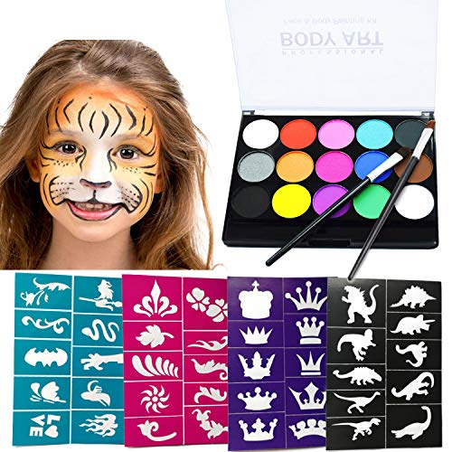 Face Painting Kits Professional Face Paints + Brushes + Stencils, Hypoallergenic, Kids & Adult Body Paint for Halloween Face Makeup Kits