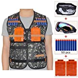 COSORO Kids Jungle Camouflage Tactical Vest Jacket Kit (comes with Skull Face Mask + Protective Goggles + 50pcs Foam Darts + 2pcs Quick Reload Clip) for Nerf N-strike Elite Toy Gun