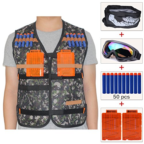 Airsoft Firepower Tactical Mask (COSORO Kids Jungle Camouflage Tactical Vest Jacket Kit (comes with Face Mask + Windproof Protective Goggles + 50pcs Foam Darts + 2pcs Quick Reload Clip) for Nerf N-strike Elite Toy Gun)