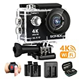 Action Camera 4K Ultra HD WIFI Waterproof Sports Camera 12MP 170°Wide Angle Lens with Remote Control 2 Rechargeable Batteries and Portable Package(SOMEK-Trekker 4)