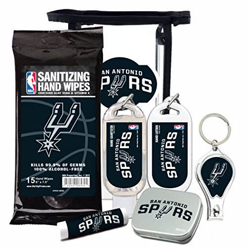 - San Antonio Spurs 6-Piece Fan Kit with Decorative Mint Tin, Nail Clippers, Hand Sanitizer, SPF 15 Lip Balm, Hand Lotion, Sanitizer Wipes. NBA Gifts for Men and Women By Worthy