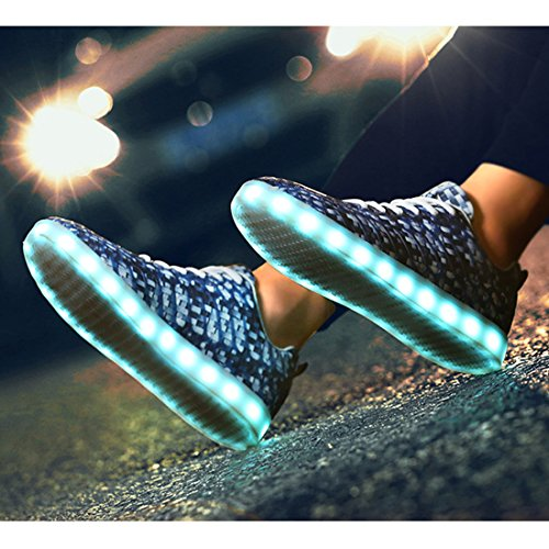 Sneakers YIBLBOX Up 1 Women Light Valentine's LED Day Shoes Men Blue Christmas Couple Sport Halloween for Rechargeable wfrwzEq