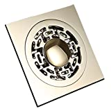 Beelee Square Floor Drain Shower Waste Water Drainer for Washing Machine, Ti-PVD Gold Finish