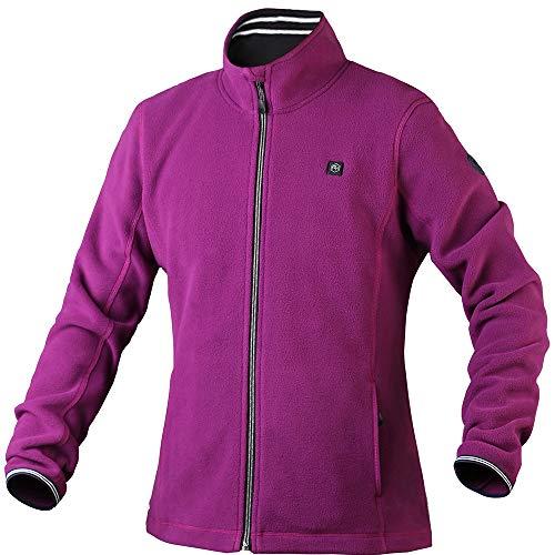 Pau1Hami1ton Women's Sherpa Fuzzy Fleece Heated Jacket Full-Zip (Power Bank not Included) PJ-06 (L, Purple)