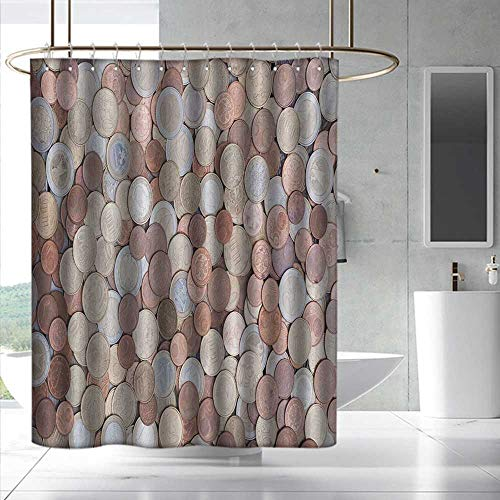 - Fakgod Money Funny Shower Curtain Close Up Photo of Coins European Union Euros Cents on Rustic Wooden Board for Master, Kid's, Guest Bathroom W108 x L72 Bronze Silver Yellow