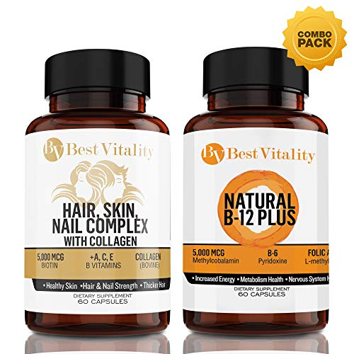 BestVitality - Vegan Safe All Natural Energy And Beauty Complex Bundle! 100% Natural Hair, Skin, Nails Vitamins And B Complex. Two of Our Best Selling Products for the Price of One - Made in USA ()