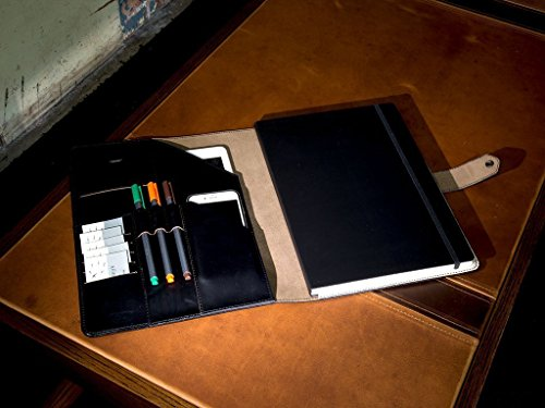 A4 PadFolio with Snap Closure, Black Leather Padfolio with Moleskine A4 Professional Journal 8 1/4x11 3/4 in, Chromexcel Horween Leather, Executive Leather Portfolio, Business Folder with Notepad by OleksynPrannyk