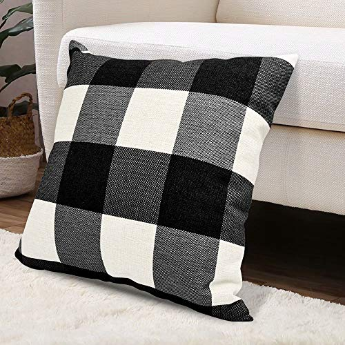 - USTYLES Pillow Covers 24 X 24 Decorative Throw Pillows Covers Cotton Line Square Cushion Cases for Sofa Chair Car Bench Bed Office Bar Indoor Outdoor Home Decorations Party Déc (Black + White)
