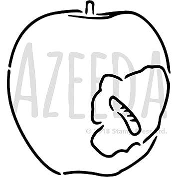 A4 Apfel Mit Wurm Wandschablone Vorlage Ws00001625
