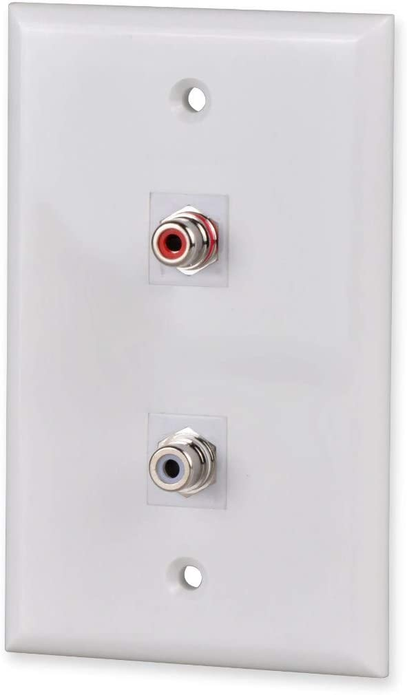 FolioGadgets 2-Port RCA Wall Plate with RCA Stereo Couplers Red//White Keystone Insert Jack for Speaker