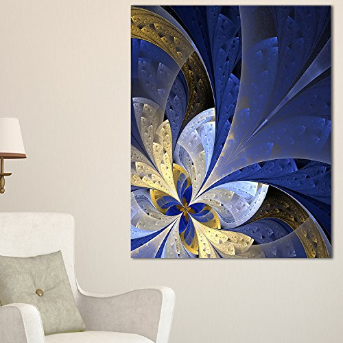 Designart PT11970-20-40 Blue & Yellow Large Fractal Pattern Modern floral canvas Wall Art,Blue,20x40