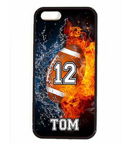 iPhone 5C Case, ArtsyCase Water Fire Football Personalized Name Number Phone Case for iPhone 5C (Black)