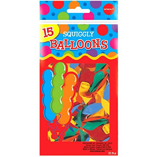 Squiggly Latex Balloon Pack of 15 Party Decor Assorted Colors