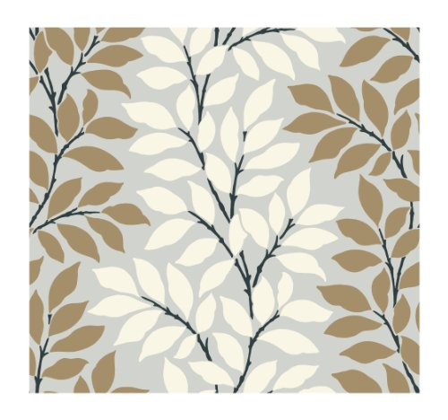 York Wallcoverings Tres Chic BL0320 Leaf Branch Stripe Wallpaper, Silver Metallic/Gold/White