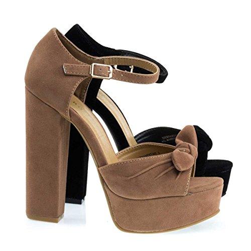 Tournament66 Camel Beige Retro Open Toe Chunky Block Heel Sandal On Platform   Ankle Strap  5 5