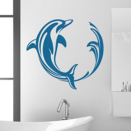 Dolphin Swirl Wall Decal by Style & Apply - Wall Sticker, Vinyl Wall Art, Home Decor, Wall Mural - SA3032-24in x 22in-Royal blue