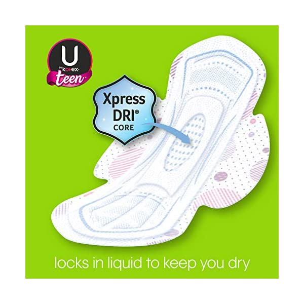 U by Kotex Ultra Thin Teen Feminine Pads with Wings, Extra Absorbency, Unscented, 56 Count (4 Packs of 14) (Packaging…