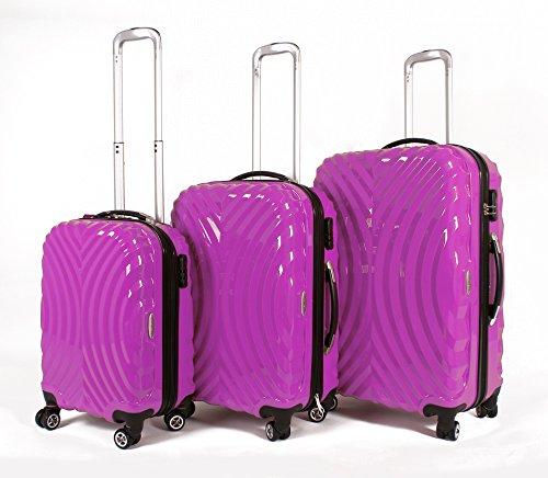 Rosa Set de 3piezas–4Ruedas de maletas–Carcasa rígida Poly Carb PC bolsa fucsia