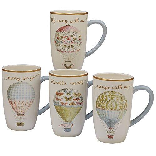 Multi Colored Beautiful (Certified International Beautiful Romance Set/4 Balloon Mug 16 oz. , Assorted Designs,One Size, Multicolored)