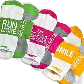 Gone For a RUN Lov'n the Run Inspirational Athletic Running Socks - One Size Fits Most - Set of 3 Pairs - Multicolored