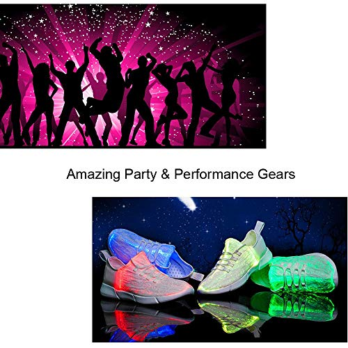 Farben Herren LED Nacht 7 USB Sportschuhe Fabric mit Ladegerät Atmungsaktive Frames Idea Leuchtende Damen Weiß Schuhe Laufschuhe W8Bx5wU78q