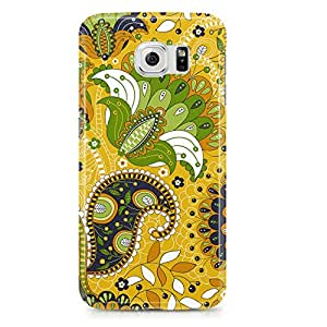 Samsung Galaxy S6 Edge Case Beautiful Yellow And Green Paisley Pattern-Hard Plastic Tough Wrap Around Phone Cover