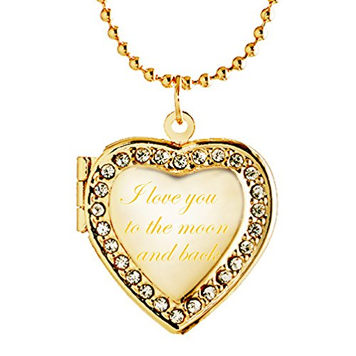 Latigerf I love you to the moon and back Heart Locket Necklace Engraved Pendant Photo Gold Plated ()