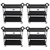 Set of 4 Crayata Utility Carts, Heavy Duty Rolling Transport and Storage Carts, 3 Plastic Shelves, Professional Series by Crayata