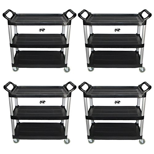 Set of 4 Crayata Utility Carts, Heavy Duty Rolling Transport and Storage Carts, 3 Plastic Shelves, Professional Series by Crayata by Crayata