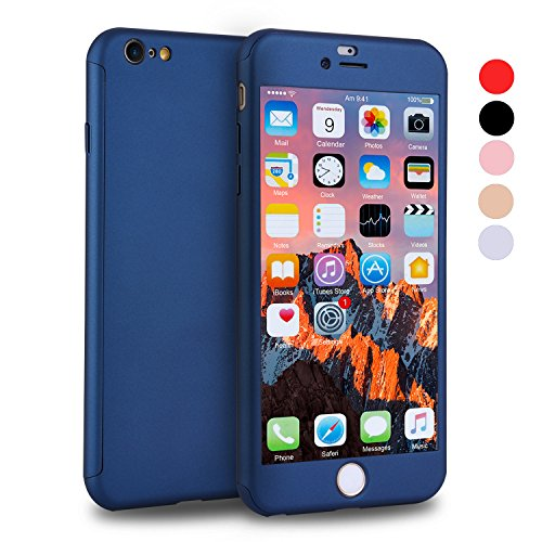 iPhone 6s Case, VANSIN 360 Full Body Cover Ultra Thin Protective Hard Slim Case Coated Non Slip Matte Surface with Screen Protector for Apple iPhone 6 and iPhone 6s (4.7) - Navy Blue