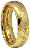 Crownal 8mm 6mm Gold Blue Black Color Lord Of The Rings Tungsten Carbide Comfort Fit Size 4 To 16(Gold 6mm,4.5)