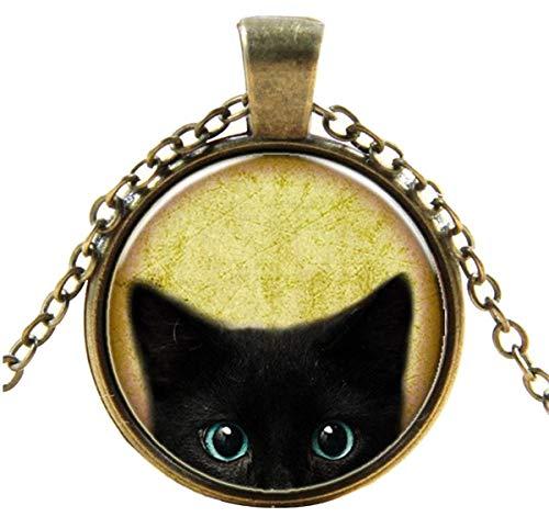 Feitengtd 2019 Steampunk Mystery Cat Retro Cabochon Glass Pendant Chain Necklace (Multicolor)