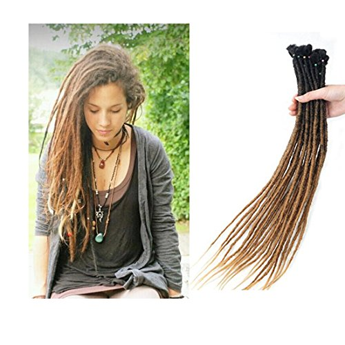 Reggae Hair Handmade Dreadlock Extentions synthetic hair From Nepal For Hippie Tribal 24 inch 10 strands/pack]()