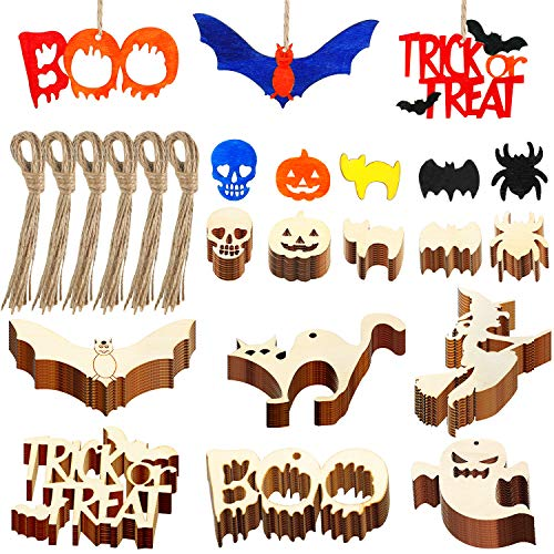 210 Pieces Halloween Wooden Tags Wooden Hanging Embellishments Halloween Wood Cutouts Crafts with Twine for Gifts, DIY, Party Decorations