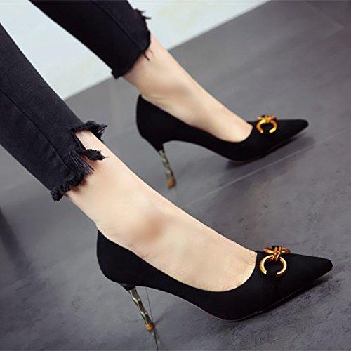 europeo elegante zapatos elegante superficialmente suede FLYRCX Zapatos tacones mujer partido temperamento de estilo black afilados La único qwwIvB6S