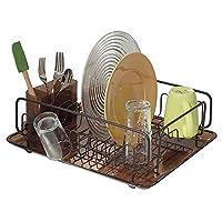 InterDesign Forma Rack de secado de platos de cocina con bandeja: escurridor para secar vasos, cubiertos y platos, ámbar /bronce