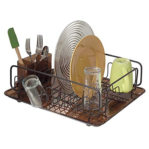 (mDesign Large Modern Metal Wire Kitchen Dish Drainer Drying Rack with Plastic Cutlery Caddy and Drainboard for Sink or Countertop - Amber/Bronze)